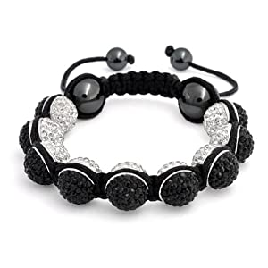 Bling Jewelry Bracelet Inspired by Shamballa Jewels Reversible Black and White Crystal Bead 12mm
