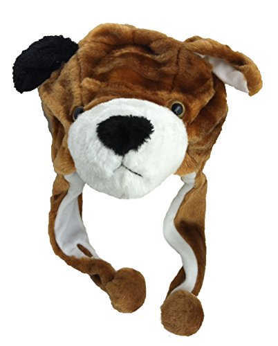 Brothship Adult/Teen Plush Animal Character Ear Flap Hat (One Size) (Brown Dog) - 1