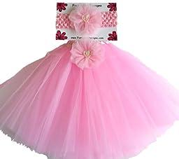 Pink Beaded Heart Matching Baby Headband and Tutu Set