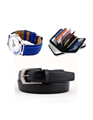 Combo Of Elligator Black Self Textured Belt,Cardholder & Lotto Watch