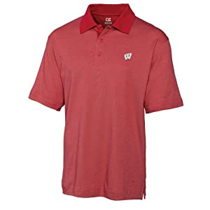 NCAA Mens Wisconsin Badgers Cardinal Red Drytec Resolute Polo Tee by Cutter & Buck