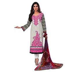 Paridhan Women'S Grey Cotton Emboridrd Suit 14703A