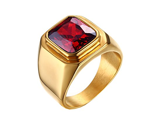 PMTIER Men's Stainless Steel Gold Plated Ring with Square Ruby Gem Stone Size 9 (Mens Stainless Steel Ruby Ring compare prices)
