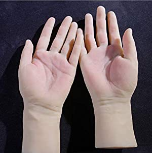 2x Nail Art Soft Practice Hands Flexible Silicone Prosthetic Hands Manicure Tools - Fingers can be Bent - Reusable, for Tattoo Artists and Beginners (A Pair Hand) (Tamaño: A Pair Hand)