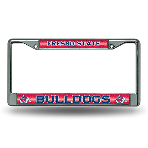 NCAA Fresno State Bulldogs Bling License Plate Frame, Chrome, 12 x 6-Inch (Bulldogs License Plate compare prices)