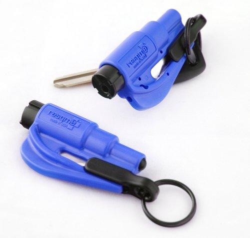 Resqme- Accessorio di sicurezza 2 in 1 per portachiavi , confezione da 2 pezzi, colore: Blu