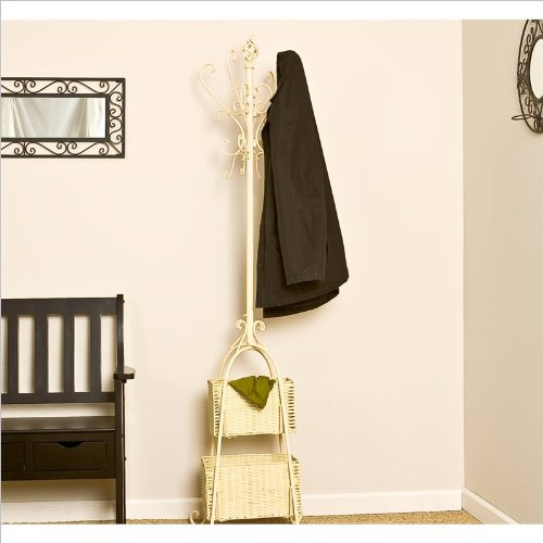 Southern Enterprises Hall Tree with Rattan Storage in Textured Ivory