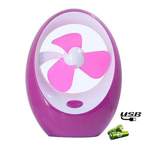Lauco Portable Fan, Ultra-quiet Mini USB Fan Cooler Fan Runs on USB or 3 AA Batteries with Strong Wind Soft Blades for desktop, office, computer, laptops - Purple (4in Oscillating Fan compare prices)