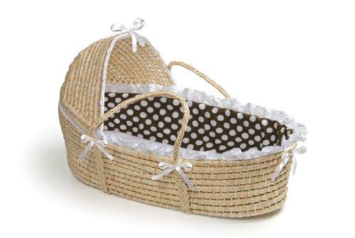 Badger Basket Moses Basket With Polka Dot Hood And Bedding, Natural/Brown
