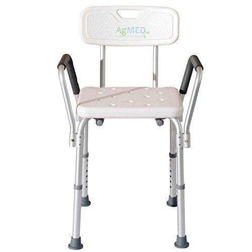 Rheab - Sedile da doccia con schienale e braccioli estraibili - Sedile da vasca, sedia regolabile in altezza