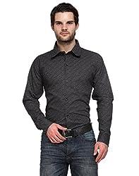 Ausy Black Cotton Blend Mens's Shirt