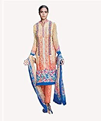 Peach Puff Printed With Embroidery Cotton Silk Salwar Suit