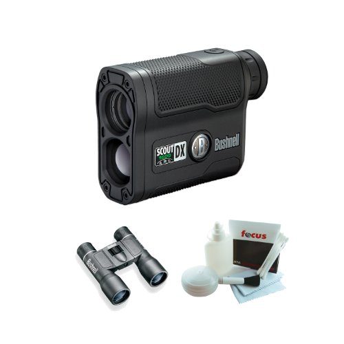 Bushnell 202355 Scout Dx 1000 Arc 6 X 21Mm Laser Rangefinder With Powerview 10X32 Compact Folding Roof Prism Binocular And 5-Piece Deluxe Cleaning And Care Kit