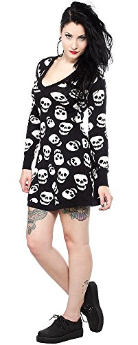 Sourpuss Allover Skull V Neck Long Sleeve Skull Prep School Long Sweater Mini Dress