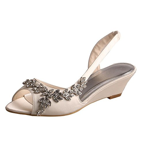 a37e98ac414 Wedopus MW368 Women s Open Toe Wedge Heel Satin Bridal Wedding Applique Shoes  Sandals Size 9 Ivory
