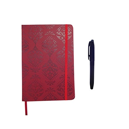 Ruby Red Embossed Damask Design Cover Journal and 5 Glitter Ink Gel Pens Unique Essentials Birthday Gift Ideas for Roommates Girls Women Best Friend Classmates Best Back to School College Supplies