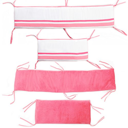One Grace Place Simplicity Hot Pink Crib Bumper, Hot Pink and White