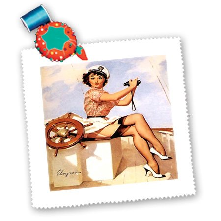 Qs_179580_5 Florene - Retro Pinups - Image Of Famous Elvgren Pinup Painting Girl With Binoculars - Quilt Squares - 14X14 Inch Quilt Square