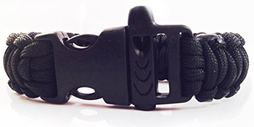 Personal Protection Attack or Rape Whistle. 550 Paracord Bracelet TSA, Air Travel Friendly, Med Alert, Be Safe! Wristband Covers Self Defense Emergency Preparedness Survival Gear Alarm Running Shoes Shoelaces Towing Child Safety Outdoor Camping Ties (Dark Black)