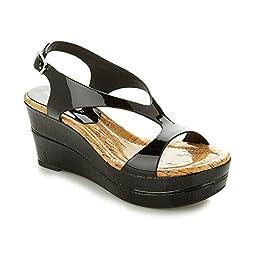 Donald J Pliner Women\'s Delon2-26 Wedge Sandal, Black, 6 M US