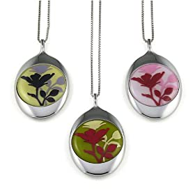 """Amazon.com: Rose Necklace featuring stainless steel & rubber. Available in 3 colors and 4 lengths 16"""", 18"""", 20"""" and 22"""". Featured here from left - right: yellow, green and pink.: Apparel from amazon.com"""