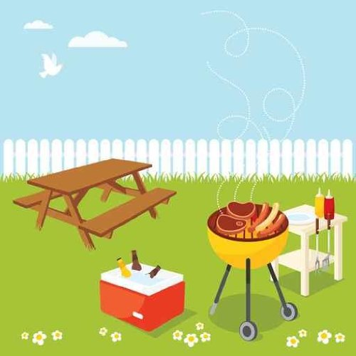 Sky Wall Decals BBQ Party - 36 Inches X 36 Inches - Peel And Stick Removable Graphic