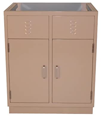 LabDesign 7103 29 Steel Standing Height 2 Sink Base Cabinet With 2 Doors 29
