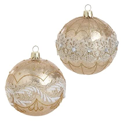 Gold Beaded Glass Christmas Ornaments by RAZ Imports