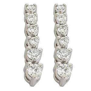14k White 0.76 Ct Diamond Earrings - JewelryWeb