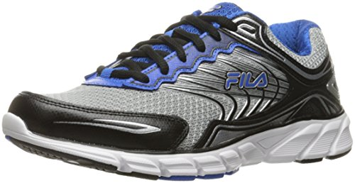 Fila Men's Memory Maranello 4 Running Shoe, Metallic Silver/Black/Prince Blue, 9.5 M US