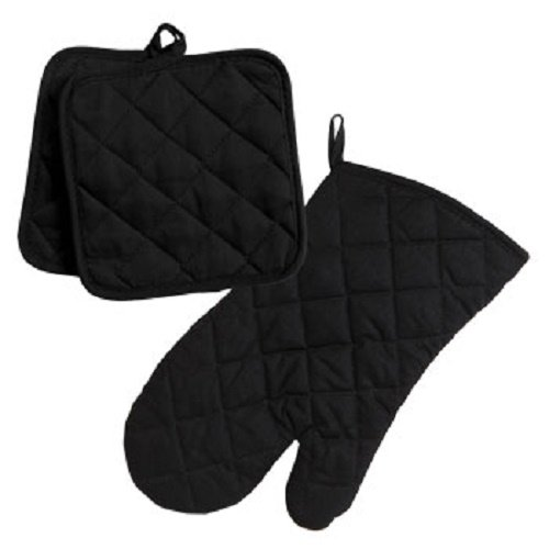 Home Collection Black 3pc Set Oven Mitt & Potholders (Pot Holder Set compare prices)