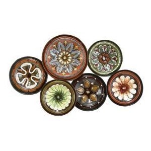 European Decor Metal Wall Art Sculpture Plate 31″W, 19″H