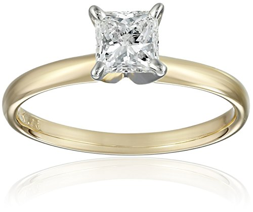 IGI-Certified-14k-Gold-Princess-Cut-Diamond-Engagement-Ring-34-carat-H-I-Color-SI1-SI2-Clarity