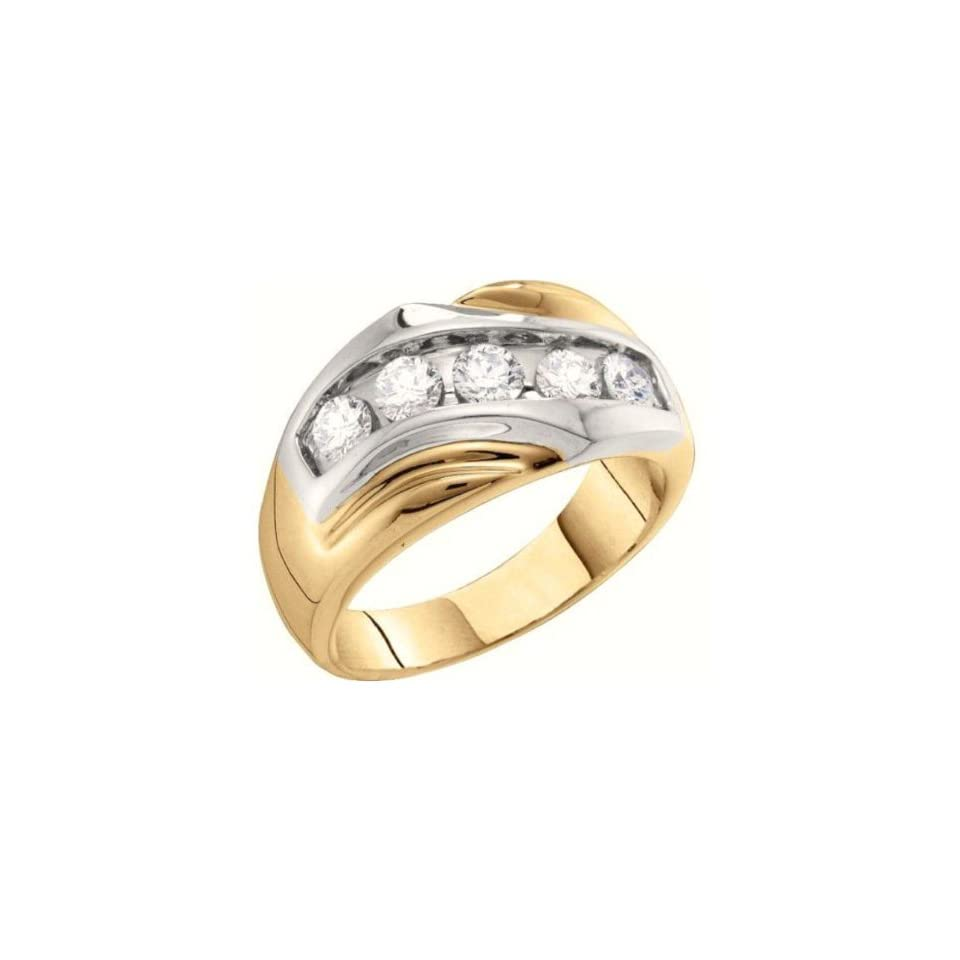 1 cttw 14k Two Tone Gold Diamond Brilliant Round Mens Channel Ring 5 Stone Wedding Band and Anniversary Ring (Real Diamonds 1 cttw, Ring Sizes 8 13) Jewelry