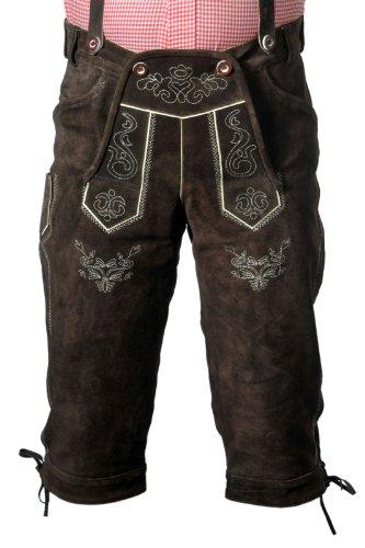 Trachten Lederhose Kniebundhose mit Trägern aus Rindvelourleder, E100DB52, dunkelbraun