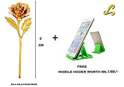 Lavanaya certified 24k gold finish rose 6 size with red box& get a mobile stand free worth Rs.99/-