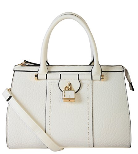 diophy-pu-leather-mini-small-studded-lock-docor-tote-womens-purse-handbag-white