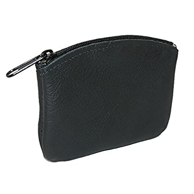 CTM® Unisex Leather Credit Card Pouch and Coin Holder, Black