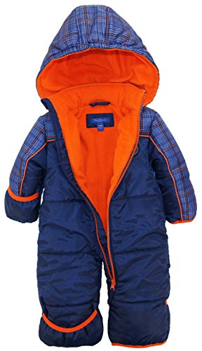 IXtreme Baby Boys Plaid Expedition Puffer Winter Snowsuit Pram, Navy, 12 Months