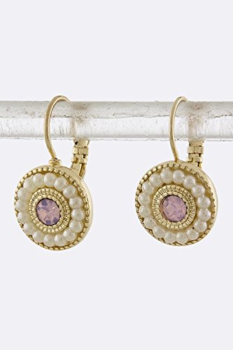 Karmas Canvas Pearl And Rhinestone Concentric Earrings (Ab/Pink)