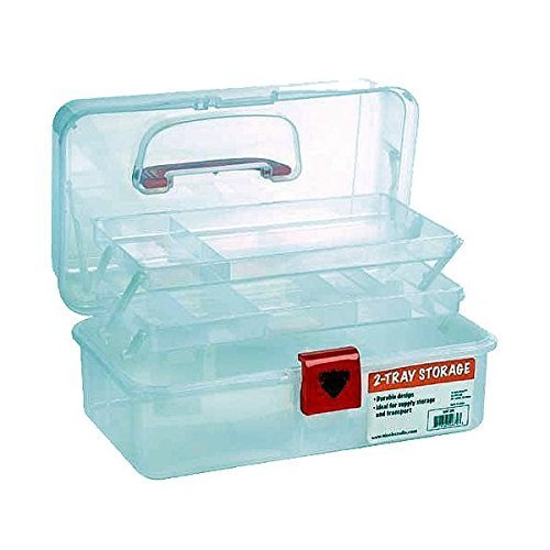 Artist Essential 12-inch Plastic Art Supply Craft Storage Tool Box, Semi-clear Plastic with Two Trays (Sewing Supply Box compare prices)