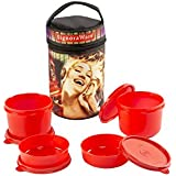 Signoraware Jazz Executive Big Lunch Box With Bag Set, 4-Pieces, Deep Red
