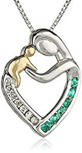 """Sterling Silver and 14k Yellow Gold Created Emerald and Diamond Mother's Jewel Heart Pendant Necklace, 18"""""""