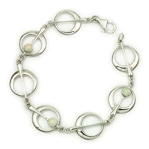 Ortak Sterling Silver & White Opal Bracelet of Length 19Cm Sbl49 from The Harlequin Range