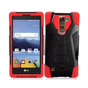 LG Stylo 2 Plus Case, IECUMIE A2 Armor Skin Protective Cover Case W/ Stand for LG G Stylo 2 Plus - Red (Package Include an IECUMIE Stylus Pen)