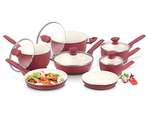 GreenPan Rio 12 Piece Ceramic Non-Stick Cookware Set, Burgundy