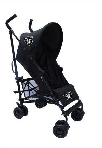 Oakland Raiders Black Umbrella Stroller front-167049