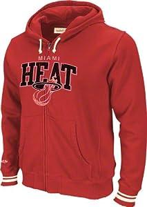 Miami Heat Red Mitchell & Ness Arch Fleece Full Zip Sweatshirt by Mitchell & Ness