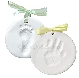 Clay Handprint, Footprint or Paw Print Keepsake Kit - Dries Stone Hard - No Bake - Air Drying (Makes 2 Plaques)