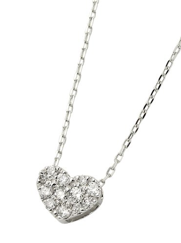 Dee collection D-COLLECTION K18 white gold diamond necklace 0.15 ct coveted classic heart pave / private BOX Magzine DS30633WG